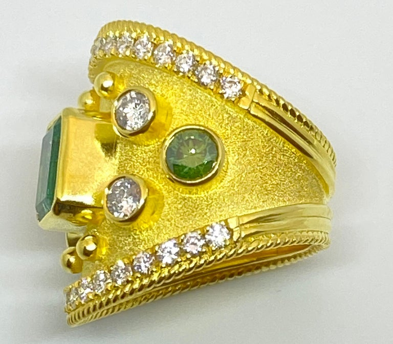 Georgios Collections 18 Karat Yellow Gold Emerald Multi-Color Diamond Band Ring For Sale 1