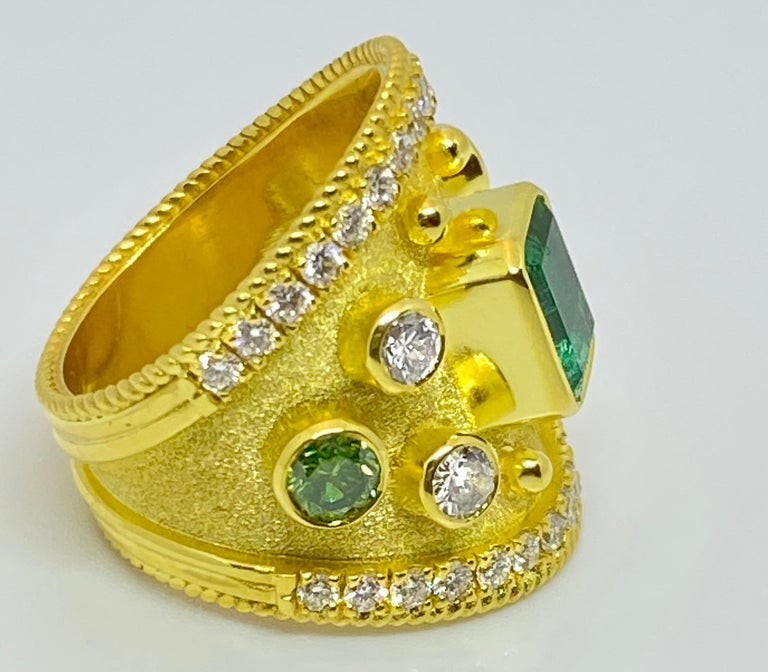 Georgios Collections 18 Karat Yellow Gold Emerald Multi-Color Diamond Band Ring For Sale 2