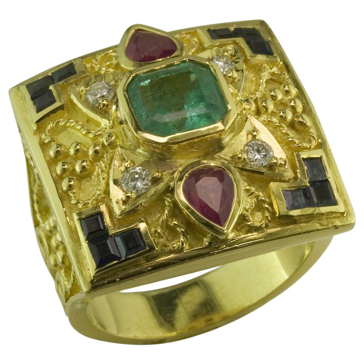 Georgios Collections 18 Karat Yellow Gold Emerald Ring with Sapphires And Rubies