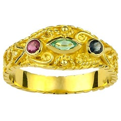 Georgios Collections 18 Karat Yellow Gold Emerald Ruby and Sapphire Band Ring