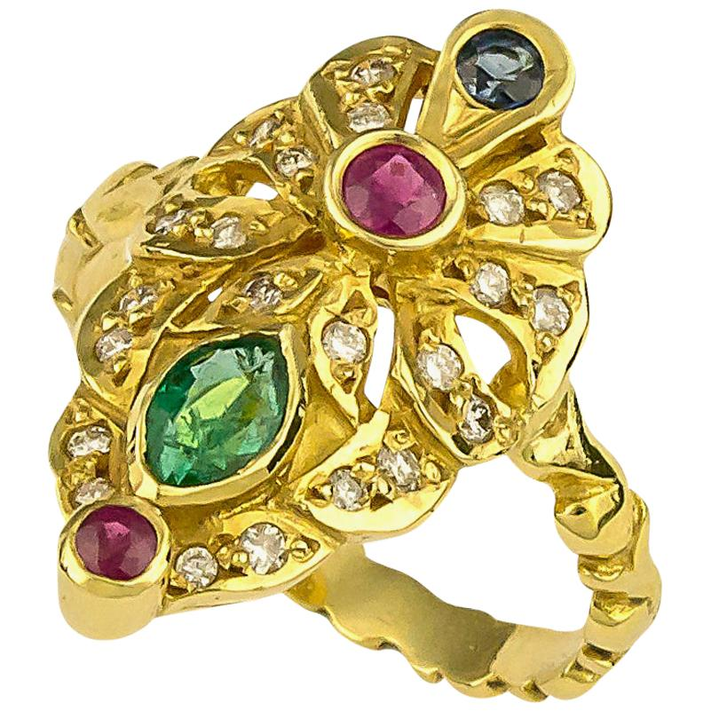 Georgios Collections 18 Karat Yellow Gold Emerald Ruby and Sapphire Diamond Ring