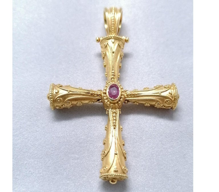 Georgios Collections 18 Karat Yellow Gold Emerald Ruby Reversible 3-D Cross For Sale 11