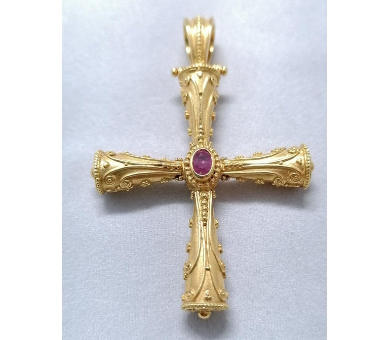 Georgios Collections 18 Karat Yellow Gold Emerald Ruby Reversible 3-D Cross For Sale 12