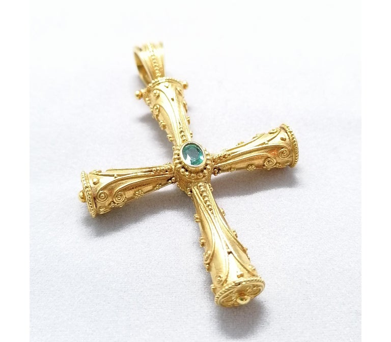 Georgios Collections 18 Karat Yellow Gold Emerald Ruby Reversible 3-D Cross For Sale 2