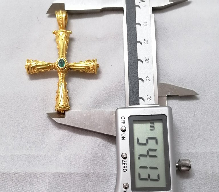 Georgios Collections 18 Karat Yellow Gold Emerald Ruby Reversible 3-D Cross For Sale 3