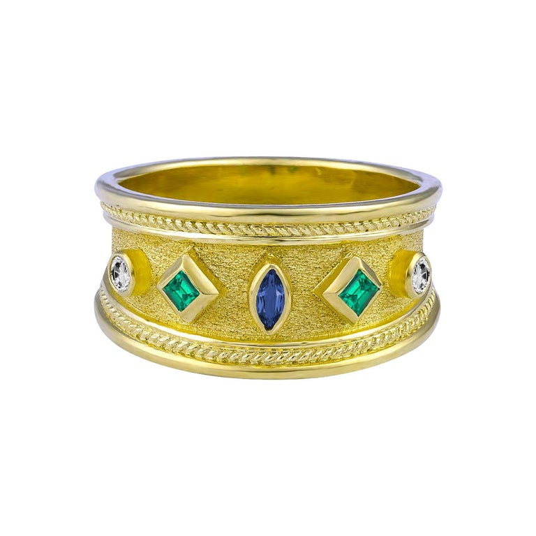 Marquise Cut Georgios Collections 18 Karat Yellow Gold Emerald Sapphire and Diamond Band Ring For Sale