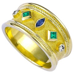 Georgios Collections 18 Karat Yellow Gold Emerald Sapphire and Diamond Band Ring