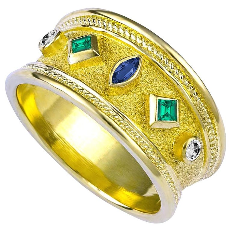 Georgios Collections 18 Karat Yellow Gold Emerald Sapphire and Diamond Band Ring For Sale