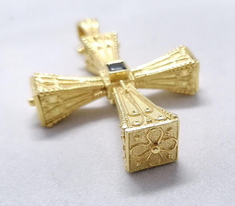 Georgios Collections 18 Karat Yellow Gold Emerald Sapphire Reversible 3-D Cross For Sale 7