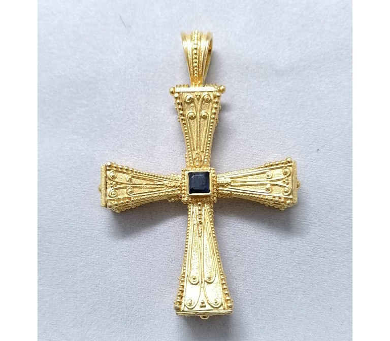 Georgios Collections 18 Karat Yellow Gold Emerald Sapphire Reversible 3-D Cross For Sale 8
