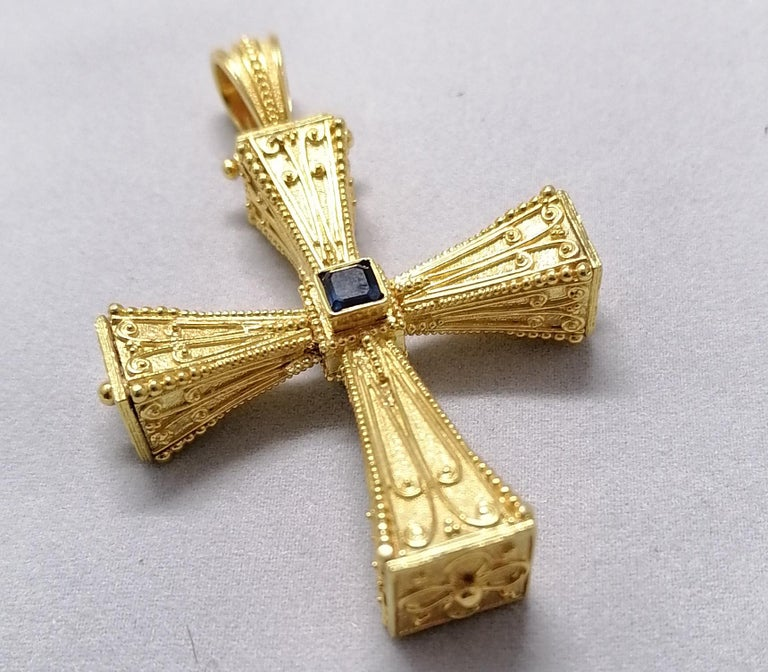 Georgios Collections 18 Karat Yellow Gold Emerald Sapphire Reversible 3-D Cross For Sale 12