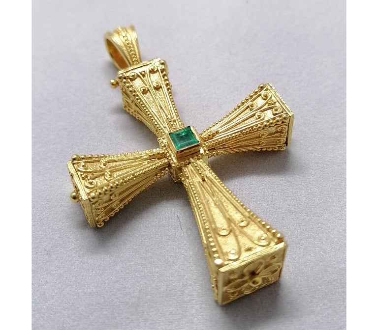 Georgios Collections 18 Karat Yellow Gold Emerald Sapphire Reversible 3-D Cross For Sale 13