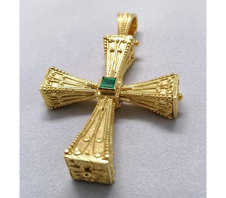 This S.Georgios solid 18 Karat Yellow Gold geometric reversible Cross pendant is beautifully handmade with microscopically decorated Byzantine-style granulation work and finished with a unique velvet background and a 3-dimensional look. This