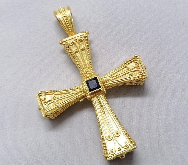 Georgios Collections 18 Karat Yellow Gold Emerald Sapphire Reversible 3-D Cross For Sale 3