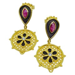 Georgios Collections 18 Karat Yellow Gold Enamel Diamond and Ruby Drop Earrings