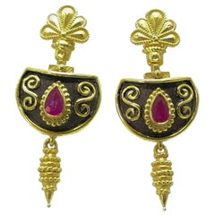 Georgios Collections 18 Karat Yellow Gold Etruscan Style Ruby Drop Earrings