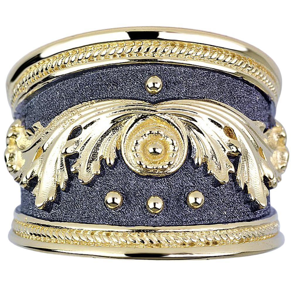 Georgios Collections 18 Karat Yellow Gold Black Rhodium Granulated Wide Ring