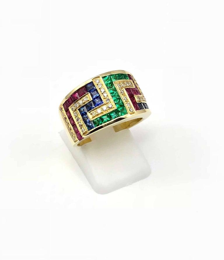 09802719b Women's Georgios Collections 18 Karat Yellow Gold Greek Key Ruby Sapphire  Emerald Ring For Sale