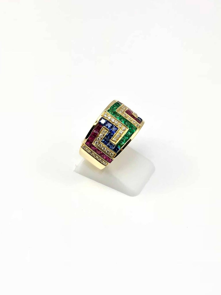 a61d74b40 Classical Greek Georgios Collections 18 Karat Yellow Gold Greek Key Ruby  Sapphire Emerald Ring For Sale
