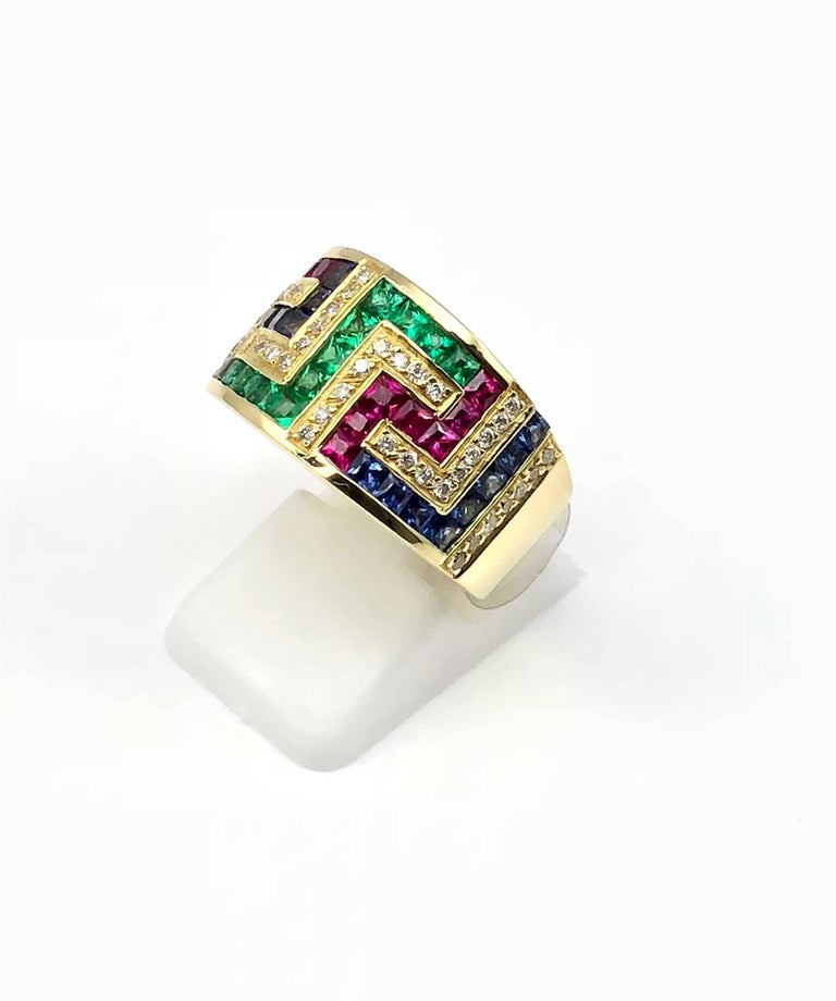 7bf0c2658 Georgios Collections 18 Karat Yellow Gold Greek Key Ruby Sapphire Emerald  Ring In New Condition For