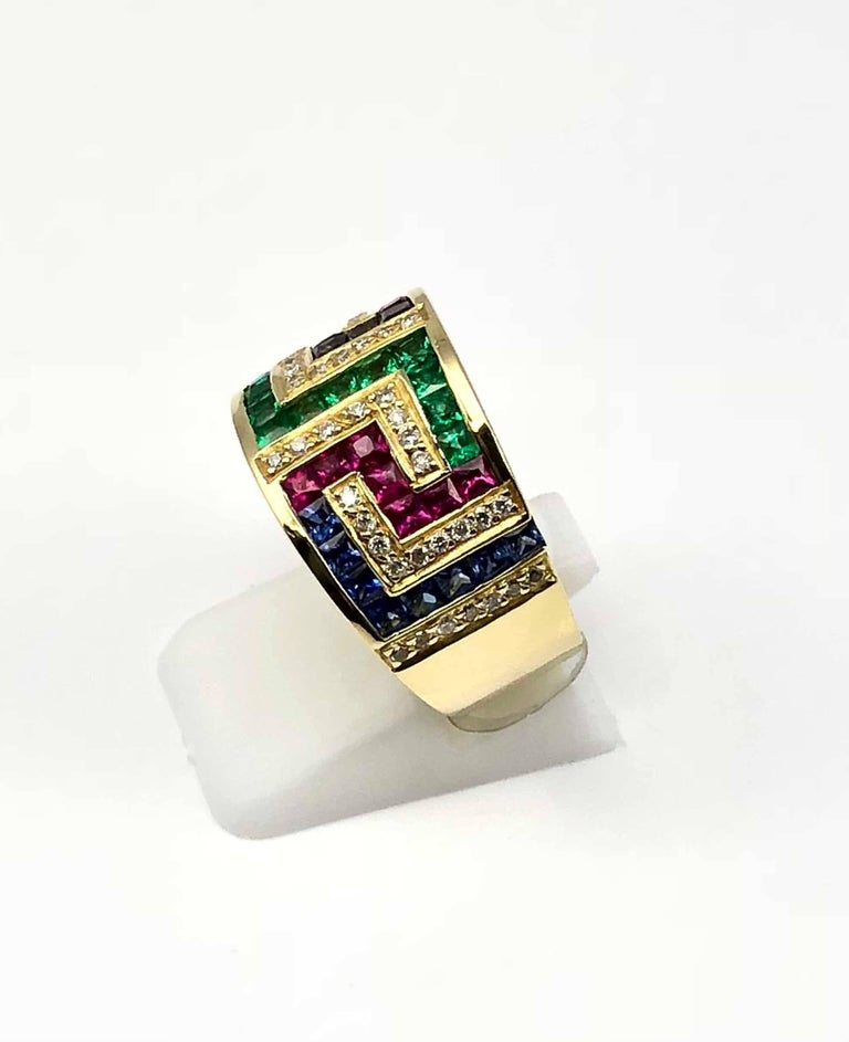 43c30d4d3 Georgios Collections 18 Karat Yellow Gold Greek Key Ruby Sapphire Emerald  Ring For Sale 1