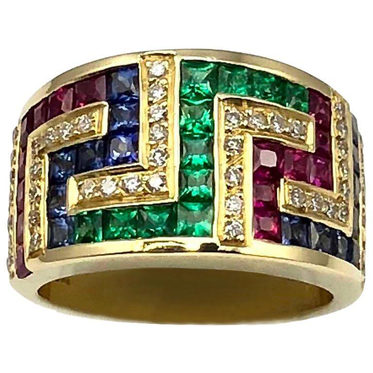9d3db52dc Georgios Collections 18 Karat Yellow Gold Greek Key Ruby Sapphire Emerald  Ring For Sale