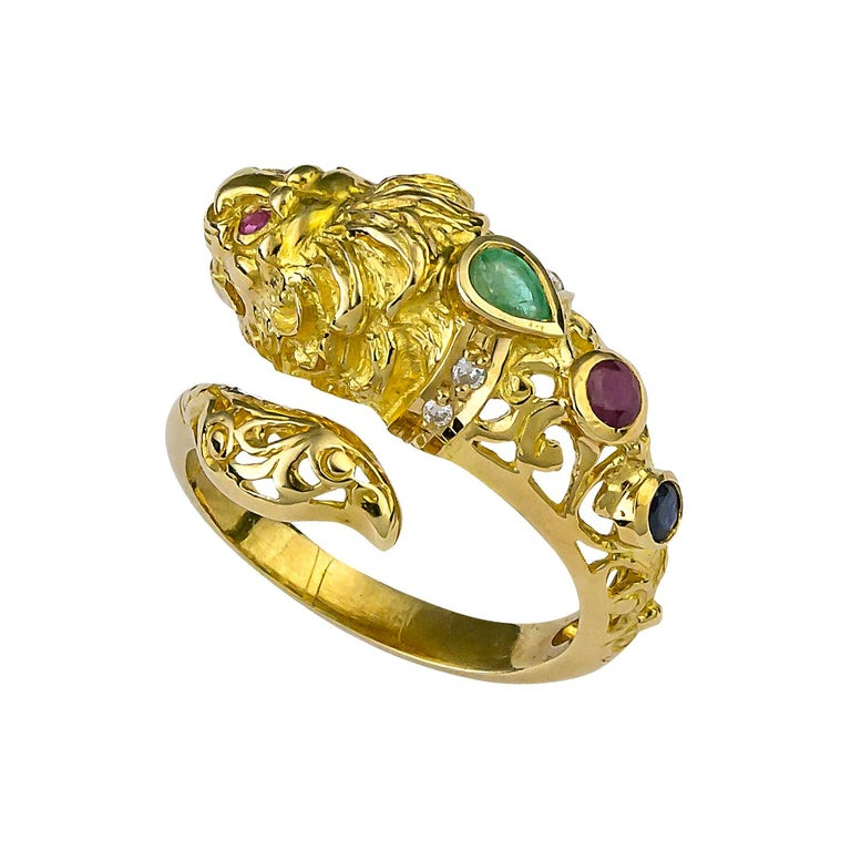 Georgios Collections 18 Karat Yellow Gold Lion Head Diamond Multi-Color Ring In New Condition For Sale In Astoria, NY