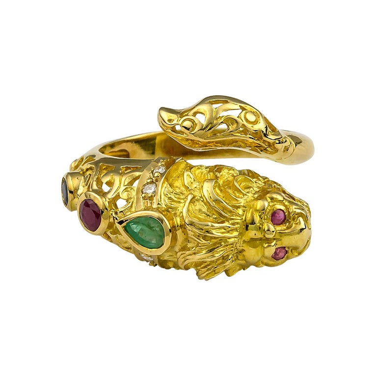 Georgios Collections 18 Karat Yellow Gold Lion Head Diamond Multi-Color Ring For Sale 2
