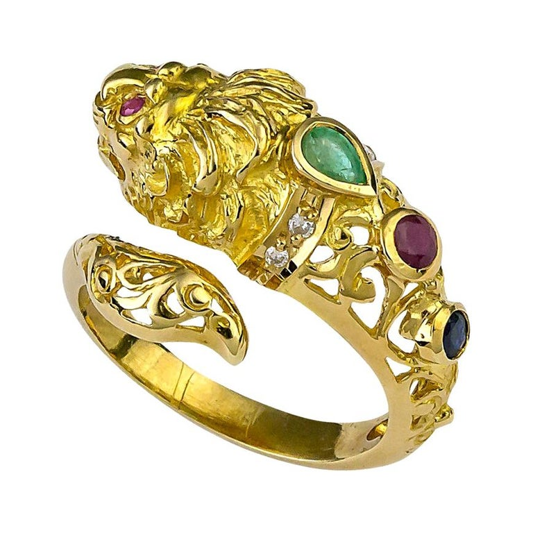 Georgios Collections 18 Karat Yellow Gold Lion Head Diamond Multi-Color Ring For Sale