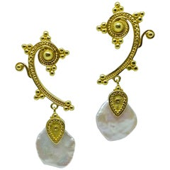 Georgios Collections 18 Karat Yellow Gold Mother of Pearl Drop Long Earrings
