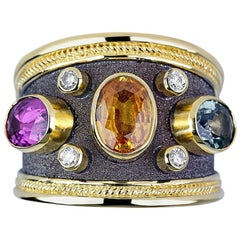 Georgios Collections 18 Karat Yellow Gold Multi-Color Diamond Sapphire Band Ring