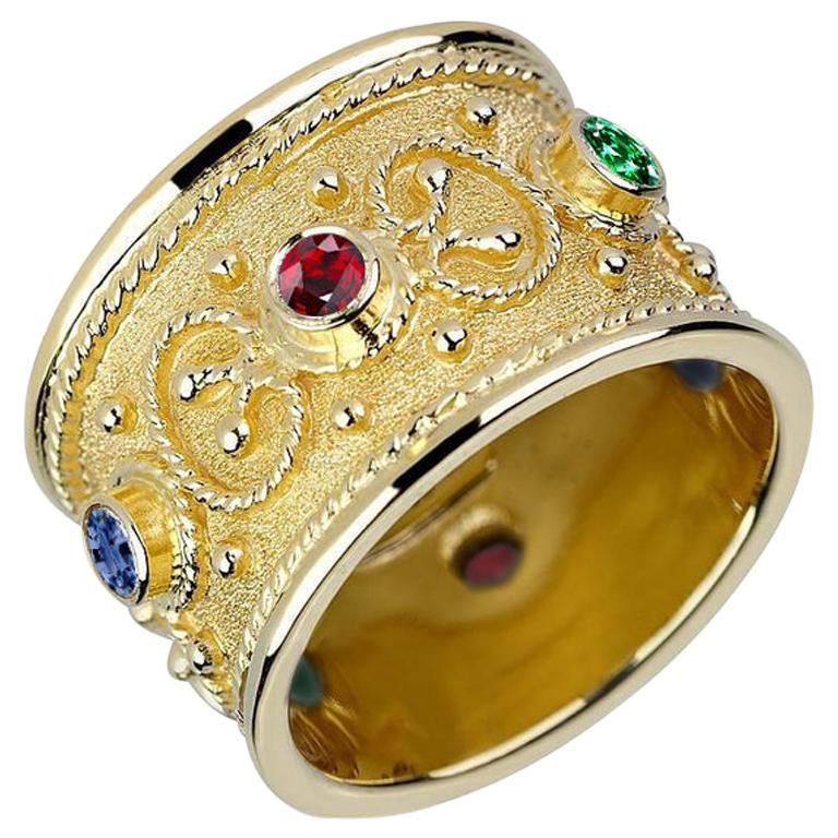 Georgios Collections 18 Karat Yellow Gold Multi-Color Granulated Wide Band Ring For Sale
