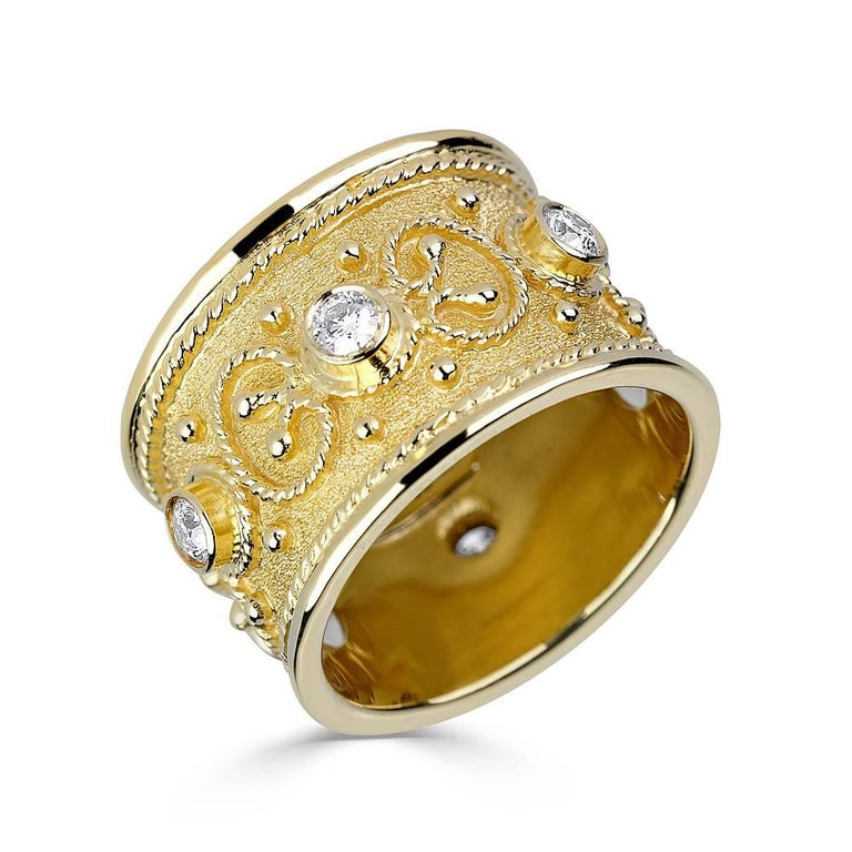 Georgios Collections 18 Karat Yellow Gold Multi-Color Granulated Wide Band Ring For Sale 6