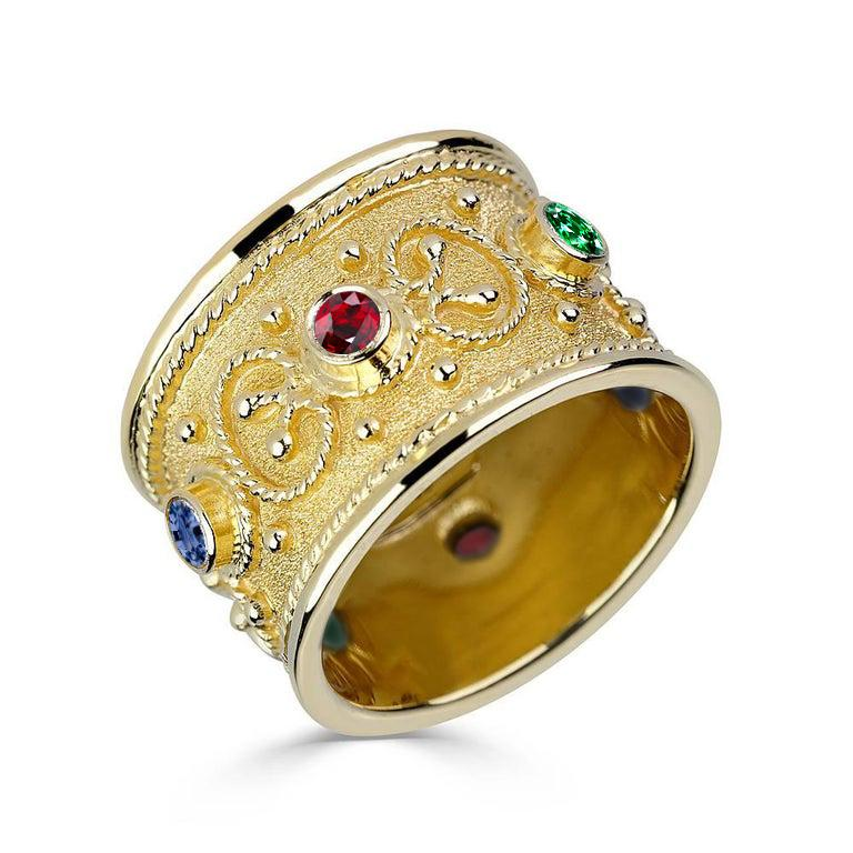Georgios Collections 18 Karat Yellow Gold Multi-Color Granulated Wide Band Ring For Sale 7