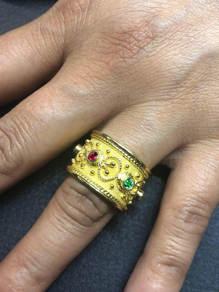 Byzantine Georgios Collections 18 Karat Yellow Gold Multi-Color Granulated Wide Band Ring For Sale