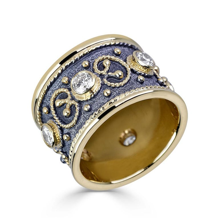 Round Cut Georgios Collections 18 Karat Yellow Gold Multi-Color Granulated Wide Band Ring For Sale