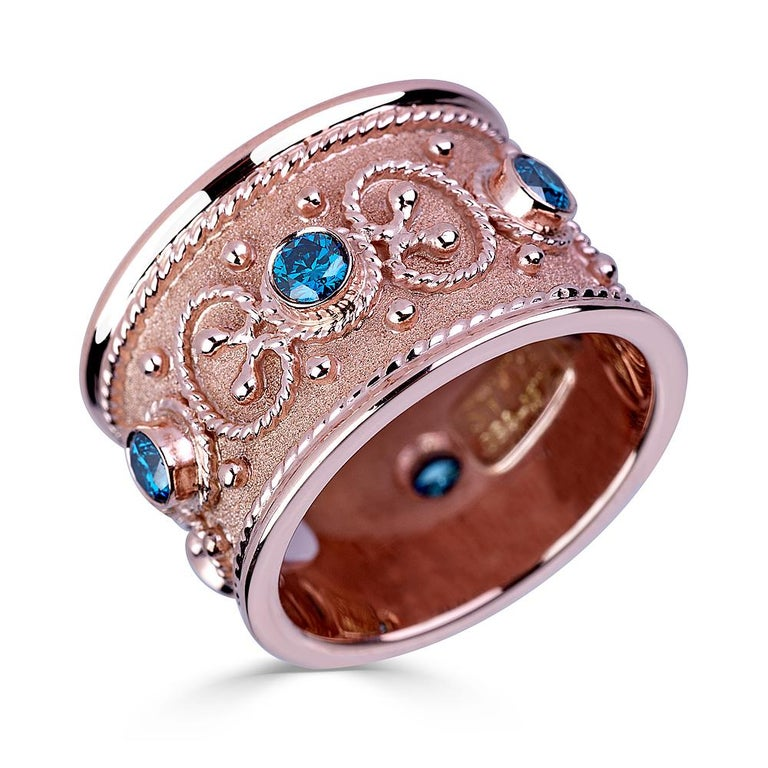 Georgios Collections 18 Karat Yellow Gold Multi-Color Granulated Wide Band Ring For Sale 3
