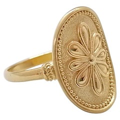 Georgios Collections 18 Karat Yellow Gold Oval Byzantine-Style Flower Band Ring