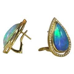 Georgios Collections 18 Karat Yellow Gold Pear Shape Opal and Diamond Earrings