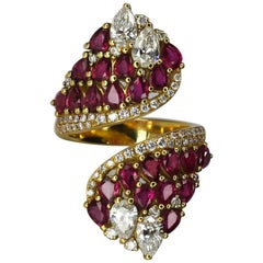 Georgios Collections 18 Karat Yellow Gold Pear Shape Ruby and Diamond Ring