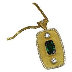 Georgios Collections 18 Karat Yellow Gold Pendant with Tourmaline and Diamonds