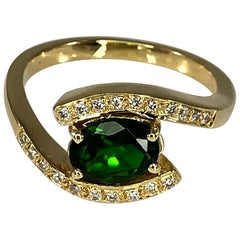 Georgios Collections 18 Karat Yellow Gold Ring Tsavorite and Diamonds