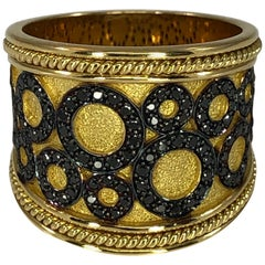Georgios Collections 18 Karat Yellow Gold Ring with Black Diamond Circles
