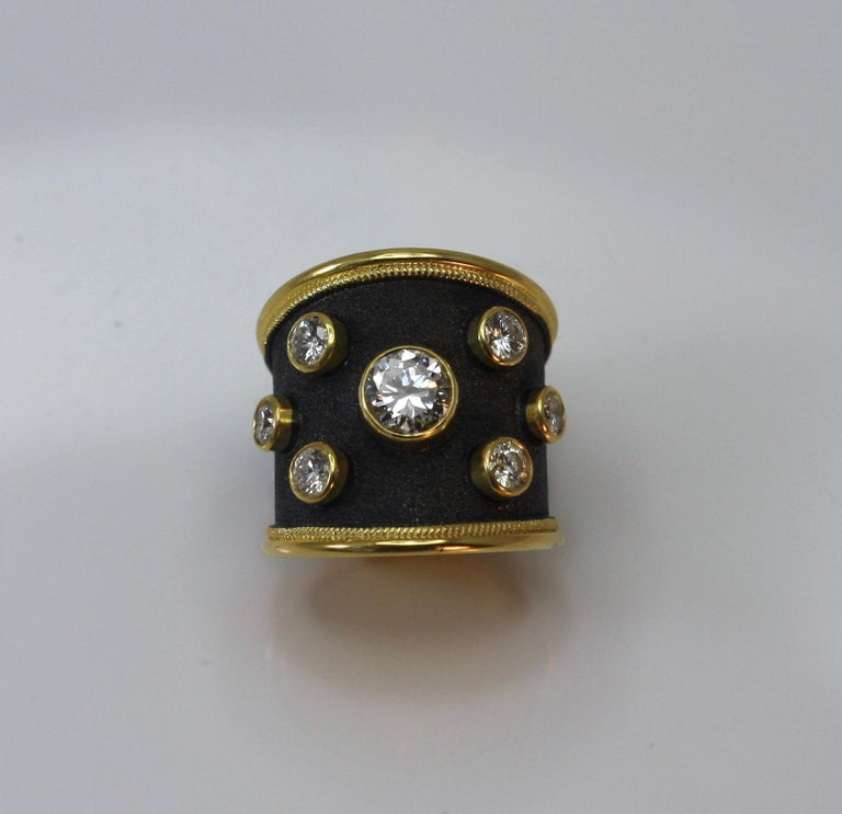 Georgios Collections 18 Karat Yellow Gold Ring with Diamonds and Black Rhodium For Sale 9
