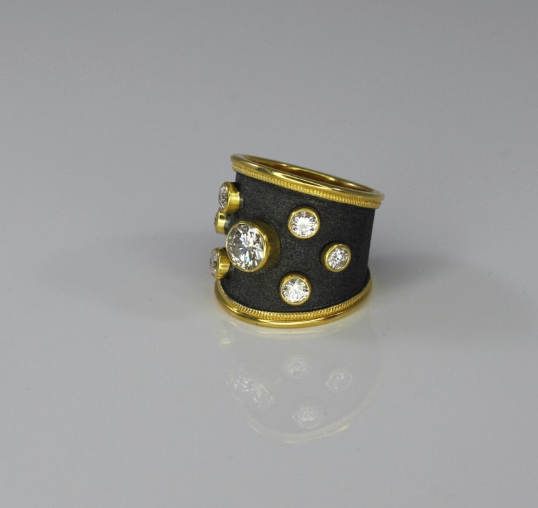 Georgios Collections 18 Karat Yellow Gold Ring with Diamonds and Black Rhodium For Sale 11