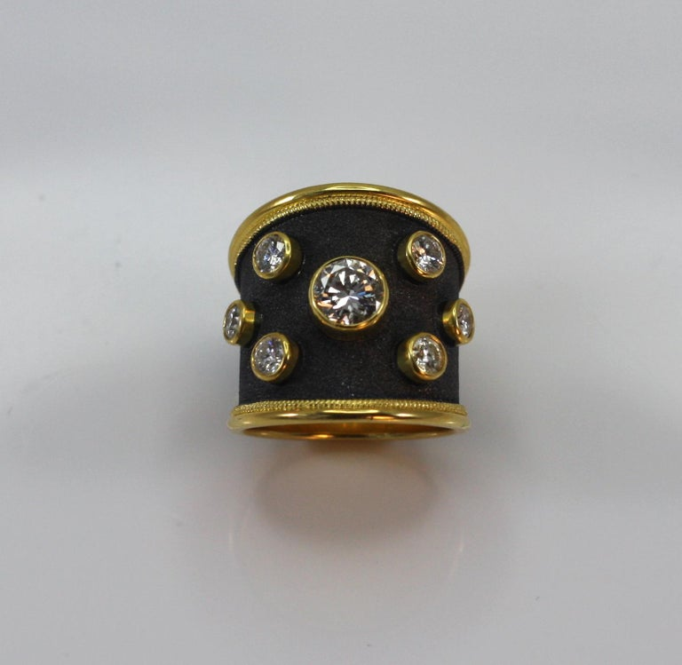 Contemporary Georgios Collections 18 Karat Yellow Gold Ring with Diamonds and Black Rhodium For Sale