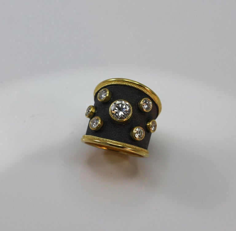Georgios Collections 18 Karat Yellow Gold Ring with Diamonds and Black Rhodium In New Condition For Sale In Astoria, NY
