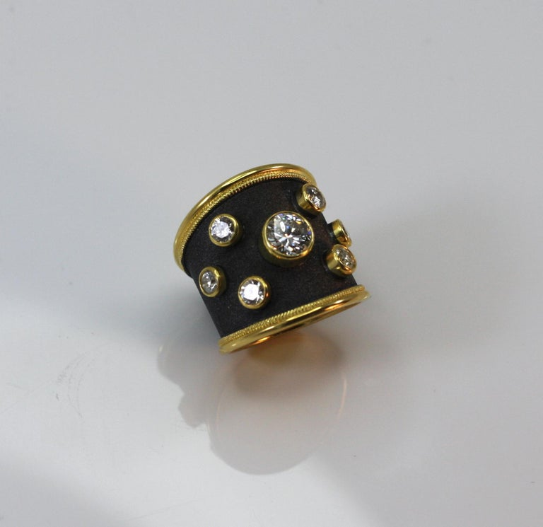Georgios Collections 18 Karat Yellow Gold Ring with Diamonds and Black Rhodium For Sale 1