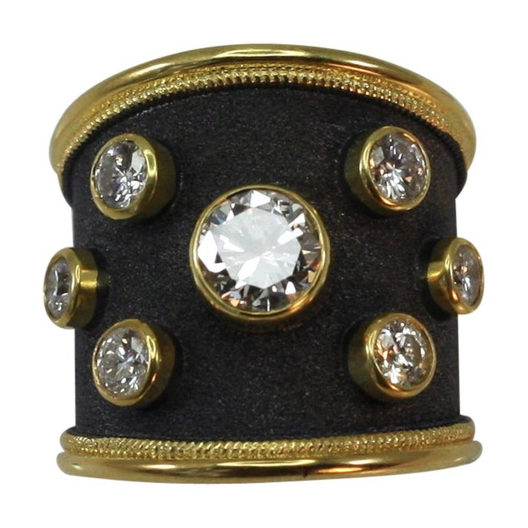 Georgios Collections 18 Karat Yellow Gold Ring with Diamonds and Black Rhodium For Sale
