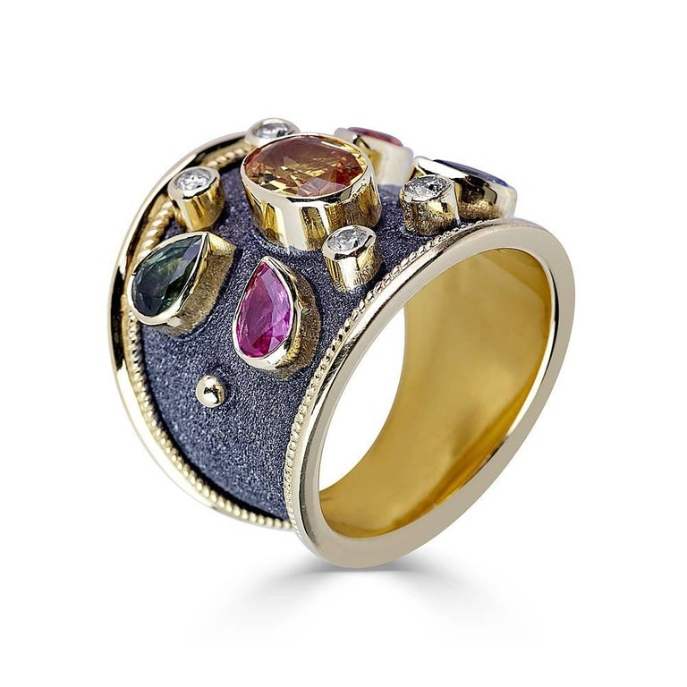 Byzantine Georgios Collections 18 Karat Yellow Gold Diamonds and Sapphires Two-Tone Ring For Sale